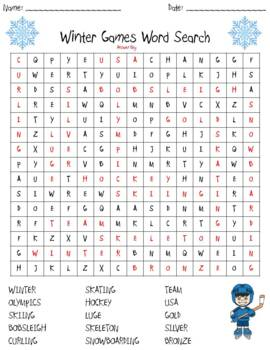 2018 Olympics Word Search