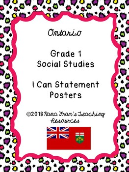 2018 Ontario Grade 1 Social Studies I Can Statement Posters