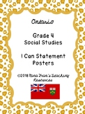 2018 Ontario Grade 4 Social Studies I Can Statement Posters