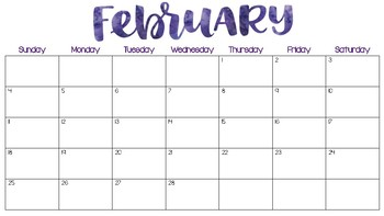 2018 Printable Wall Calendar