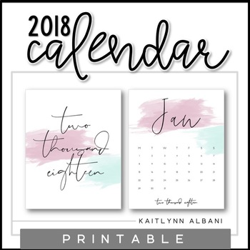 2018 Printable Wall Calendar - Watercolor