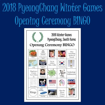 Winter Olympics 2018 Opening Ceremony Bingo