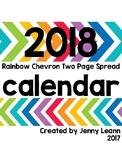 2018 Rainbow Chevron Two Page Spread Calendar