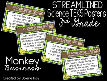 "3rd Grade Streamlined Science TEKS ""I Can"" Statement Posters: MONKEY BUSINESS"
