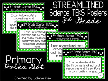 "3rd Grade Streamlined Science TEKS ""I Can"" Statement Posters: PRIMARY POLKA DOT"