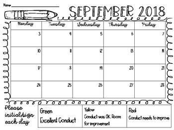 2018 September Behavior Calendar