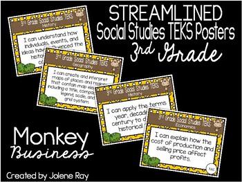 "2018-2019 3rd Grade Social Studies TEKS ""I Can"" Posters: MONKEY BUSINESS"