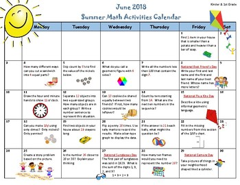 math activities calendar summer 2018 kinder 1st grade