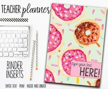 2018 Teacher Planner | Binder Inserts | Doughnuts