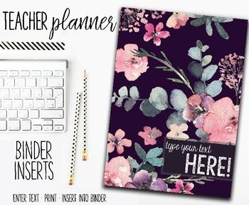2018 Teacher Planner | Binder Inserts | Floral