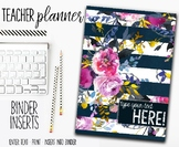 2018 Teacher Planner | Binder Inserts | Floral Stripes