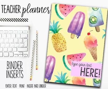 2018 Teacher Planner | Binder Inserts | Tropical