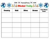 2018 WINTER GAMES, BUNDLE 2 PAGES, BLANK MEDAL COUNT HANDOUT