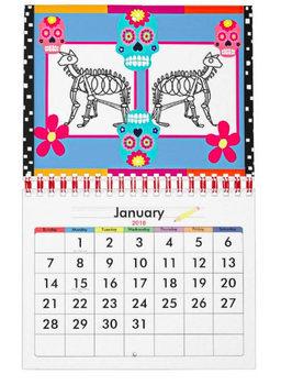 2018 Wall Calendar, Dia de los Muertos, Day of the Dead, Mexican Art