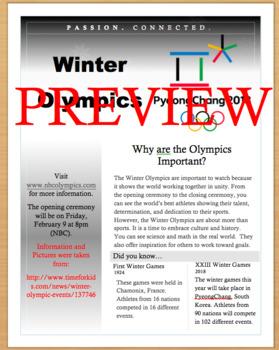 2018 Winter Olympic Games Nonfiction Text PyeongChang, South Korea