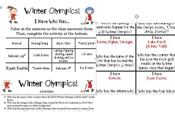 Winter Olympics 2018   2-Pack I Have Who Has... & Bingo! Olympic Trivia Games