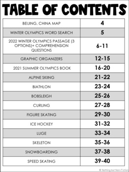 2018 Winter Olympics Reading Passages