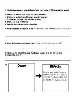 2018 Winter Olympics, Bradie Tennell Comprehension Activity