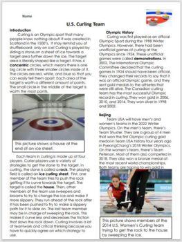 2018 Winter Olympics Comprehension Activity, U.S. Curling Team
