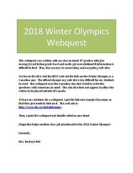 2018 Winter Olympics Pyeongchang Webquest