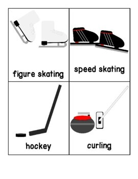 2018 Winter Olympics Word Cards for Writing Centers, Vocabulary, ELL, Retelling
