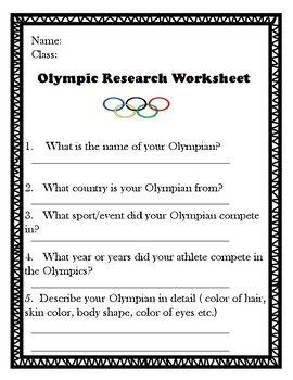 2018 Winter Olympics Worksheet/Research Guide