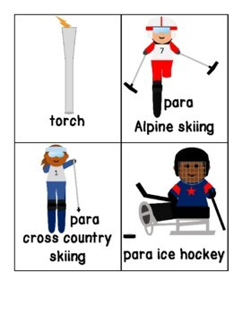 2018 Winter PARALYMPICS Word Cards for Writing Centers, Vocabulary, Retelling