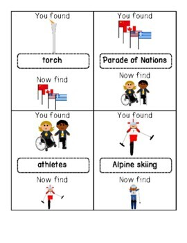 2018 Winter PARALYMPICS Write the Room/Word Hunt: Labeled and Blank Versions