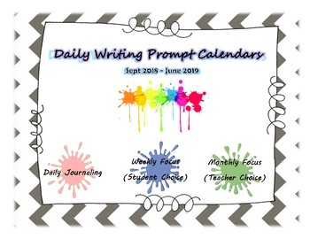 2018 Writing Prompt Calendars (Daily)