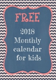 2018 monthly calendar for kids FREE
