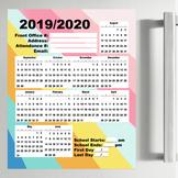 2019/2020 Academic Calendar Printable   Bright Stripes