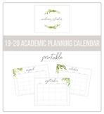2019-2020 Botanical Academic Planning Calendar (Printable)