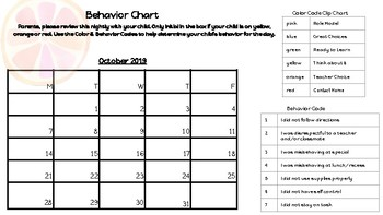 2019-2020 Behavior Chart