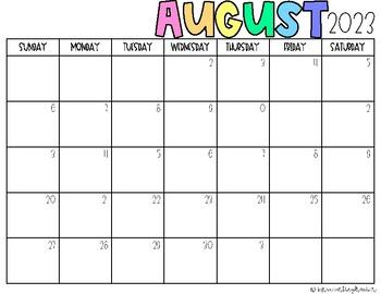 2019-2020 Blank Calendar