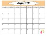 2019-2020 Blank Owl Themed Calendar