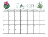 2019 - 2020 Printable Cactus Calendar
