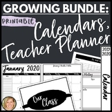 2019-2020 Calendar, Binder Spines and Covers, Teacher Planner Bundle Printable