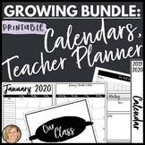 2019-2020 Calendar, Binder Spines and Covers, Teacher Planner Bundle Printable