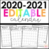 Editable Calendar 2020-2021