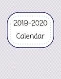 2019-2020 Printable Calendar (Peach, Navy, & Light Blue)