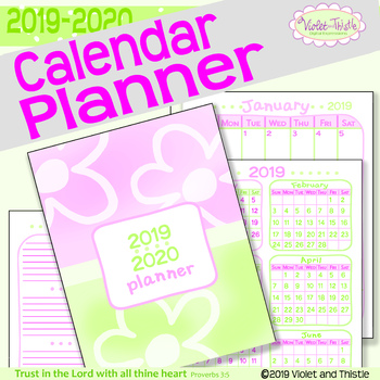 2019-2020 Calendar Planner: Binder Calendar: Printable