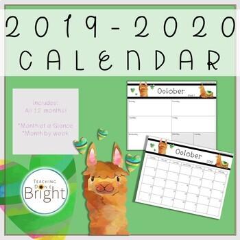 2019-2020 Calendar Printable