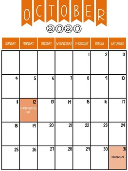 2019-2020 Calendar Printable (Colour Canadian Version)