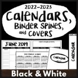 2020-2021 Calendar Printables, Black/White Teacher Planner