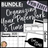 2021-2022 Calendar Printables and Teacher Binder Organization Planner Bundle