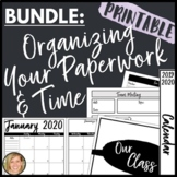 2020-2021 Calendar Printables and Teacher Binder Organizat