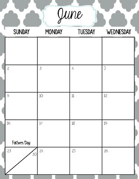 2019-2020 Calendar- Quatrefoil