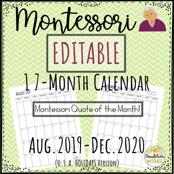 editable month calendar montessori quotes by