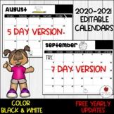 2020-2021 Editable Calendar-Free Annual Updates