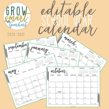 2019-2020 Editable School Year Calendar